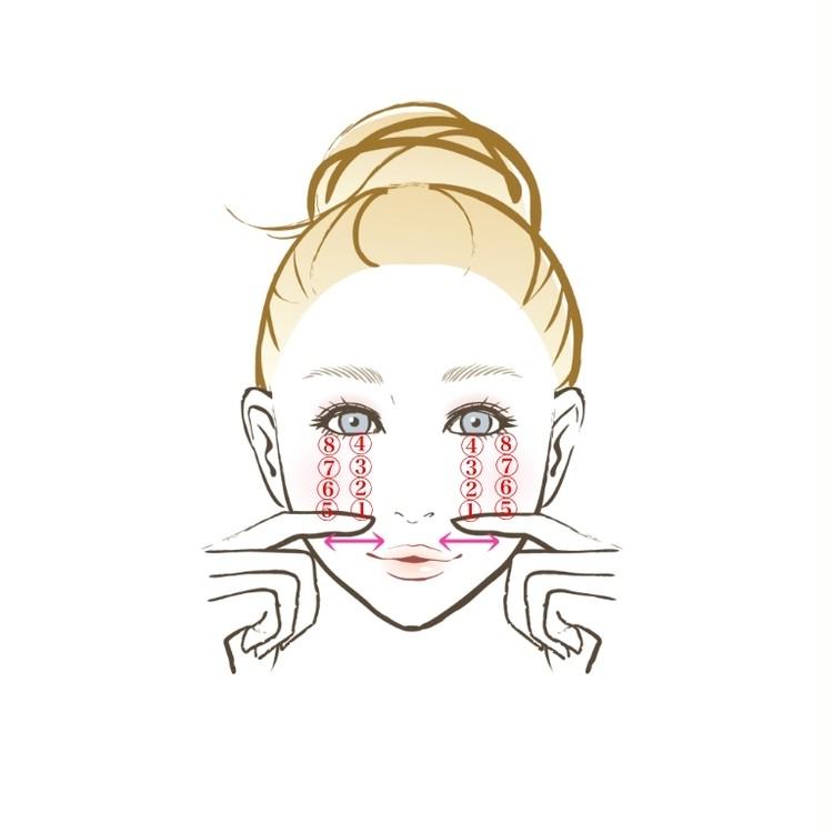 【顔筋ほぐし】指の側面をスライドさせて、筋肉のこわばりをリリース