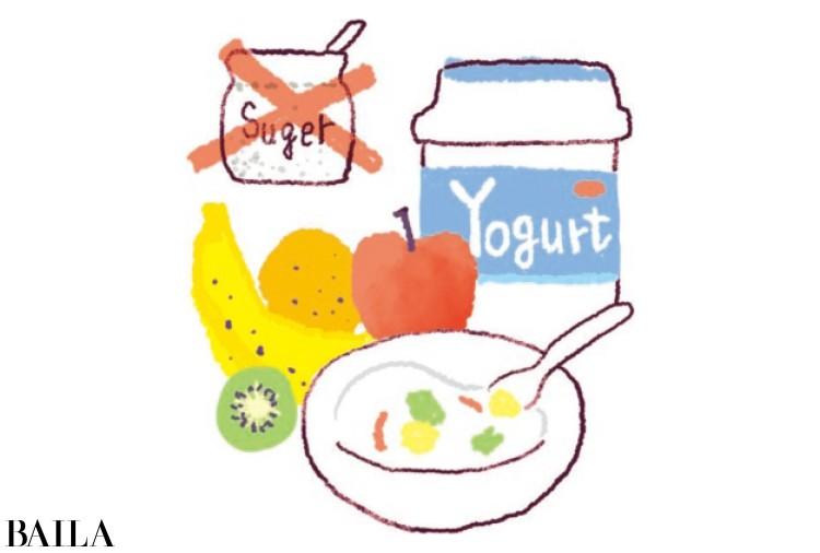 朝はヨーグルト&季節のフルーツ