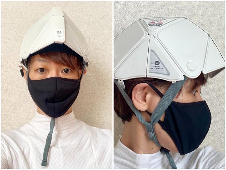 【無印良品】で買えるおすすめ防災グッズ5選 | 東日本大震災から10年 折りたためるヘルメット 着用写真