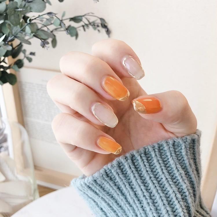 【春ネイル】上品ミント×オレンジの指先で春を先取り♡_3
