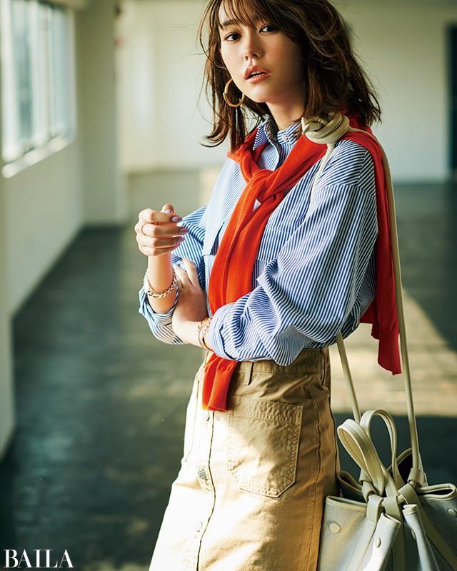 桐谷美玲に教わる【ストライプシャツ】全方位モテる選び方&CD_1