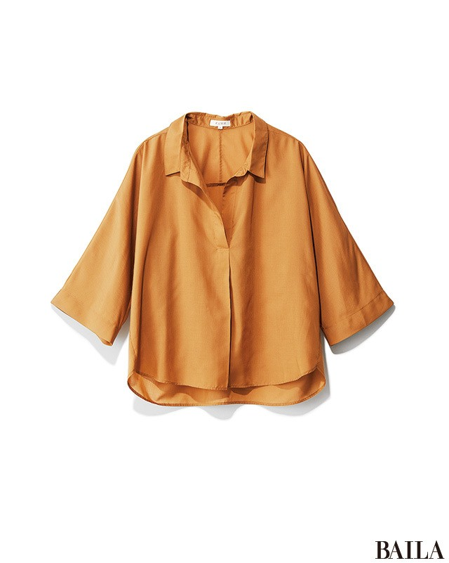 頼るのはやっぱり洗えるシャツ! こっくり色でも涼しげなパンツスタイルで通勤!_2_1