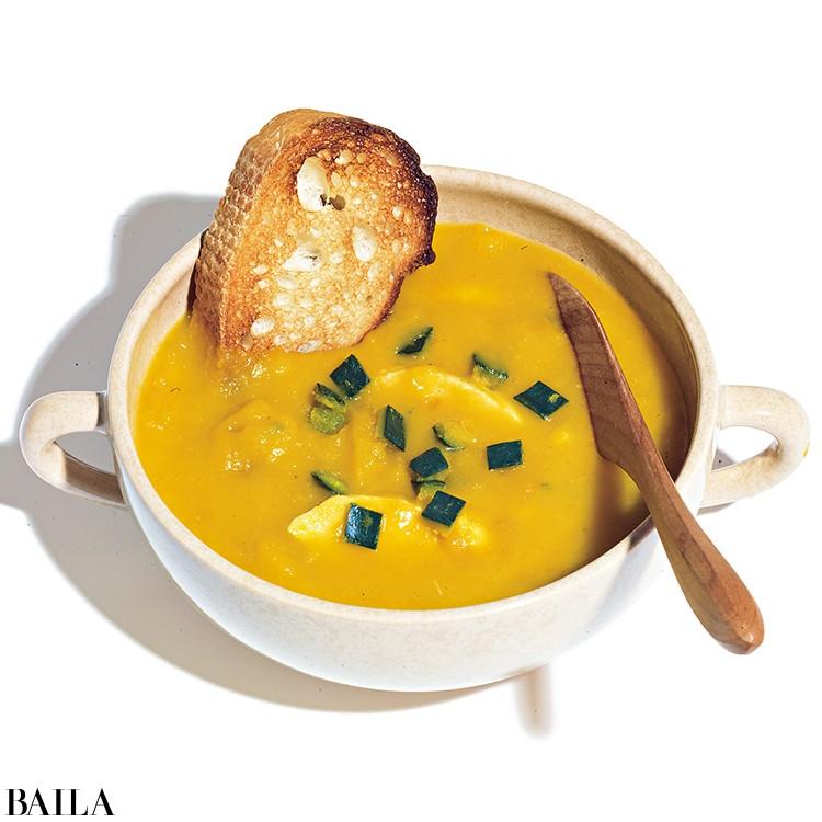 サラダチキンでかぼちゃスープ