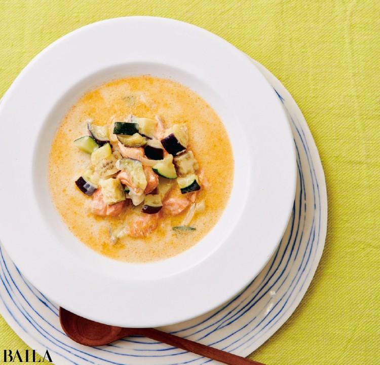 サーモン豆乳クリーミースープ