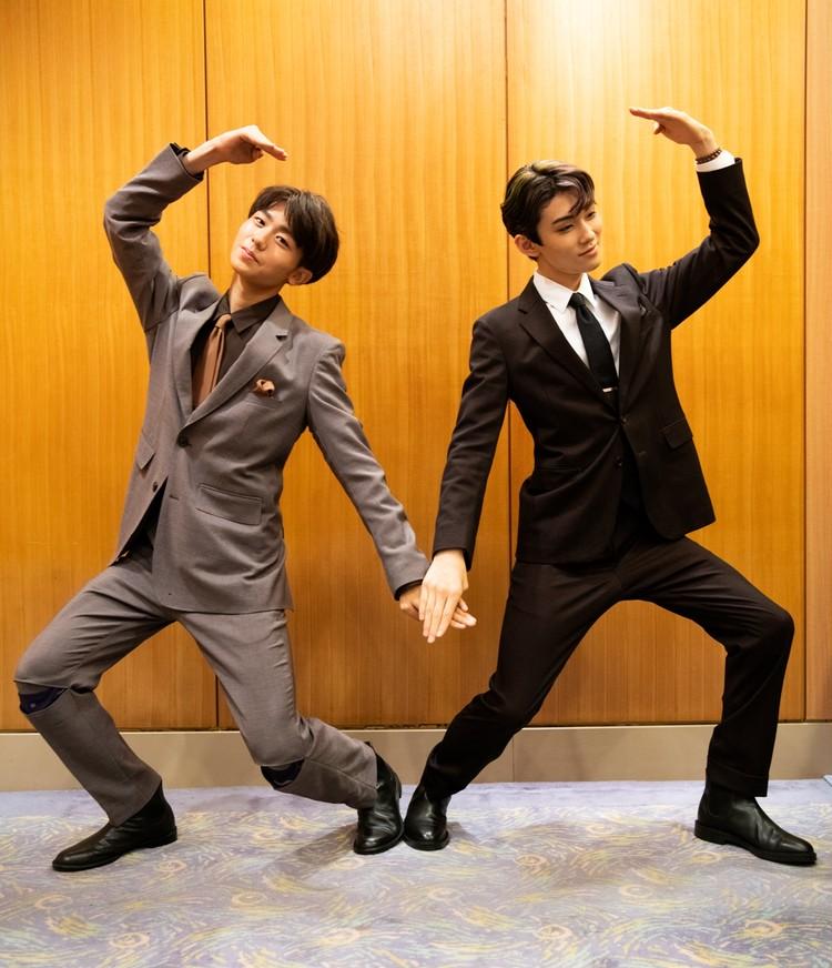 八月花形歌舞伎の取材会で。染五郎と團子の決め写真
