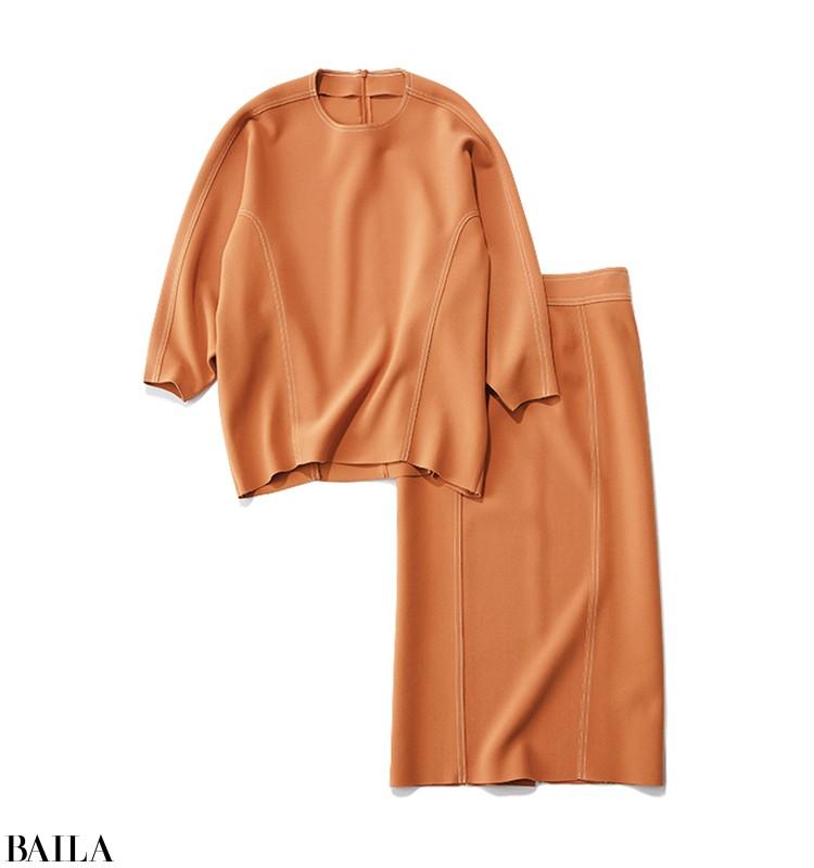 他社の新作発表会の日は、明るい雰囲気のニット×スカートで【2020/2/27 のコーデ】_2_3
