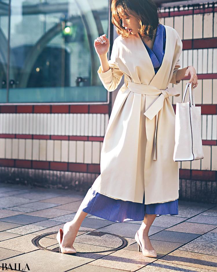 急いで出勤する朝は、春らしいワンピ&コートの女っぽスタイル!【2020/3/31のコーデ】_1