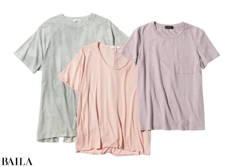 (右)Tシャツ¥12000/セオリー(中)Tシャツ¥15000/ラグ&ボーン表参道店(ラグ&ボーン)(左)Tシャツ¥9000/フレイアイディールミネ新宿2店(フレイアイディー)
