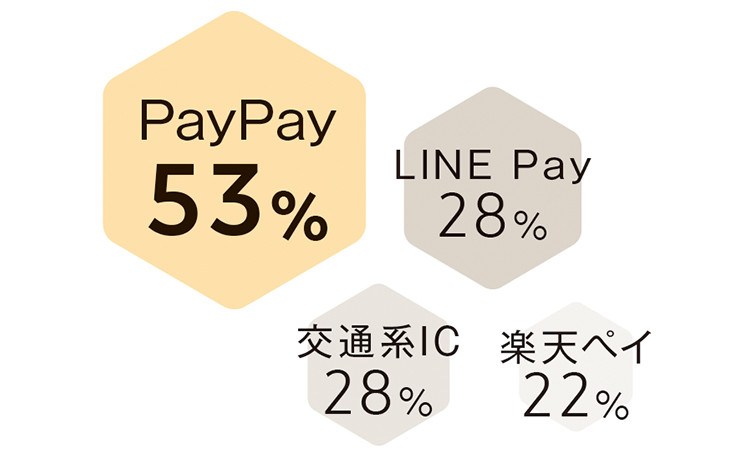 PayPay53% LINE Pay28% 交通系IC28% 楽天ペイ22%
