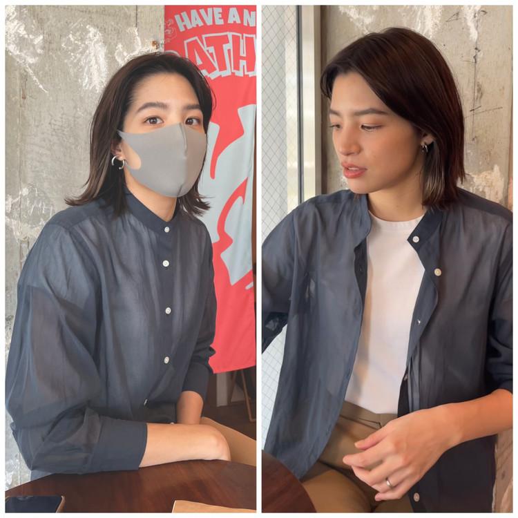 【UNIQLO/ 着回し】シアーシャツが優秀。程よい透け感とカラーが高見え!_5