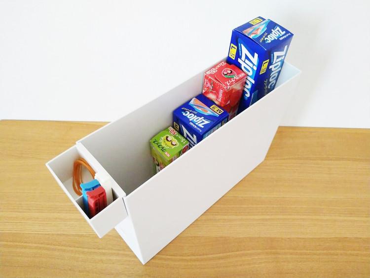 キッチン用品をいれたファイルボックス用ポケット