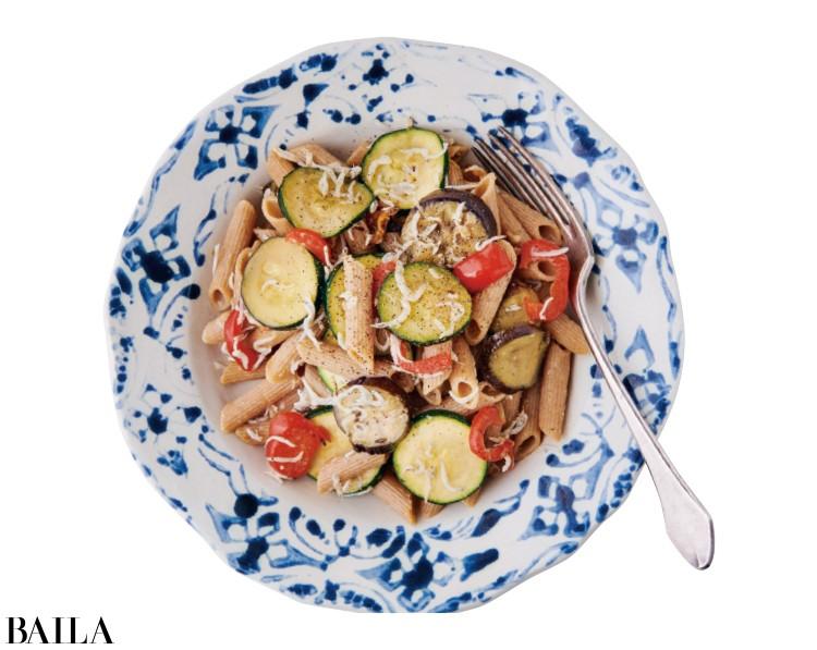 しらすと夏野菜のパスタ
