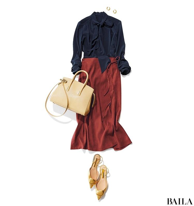 エレガントなボウタイブラウス×秋色スカートスタイル