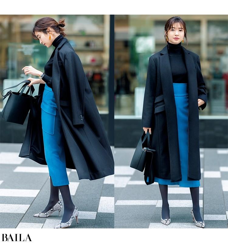 スカートを目立たせたい日は、ブラックコートにバッグをなじませて