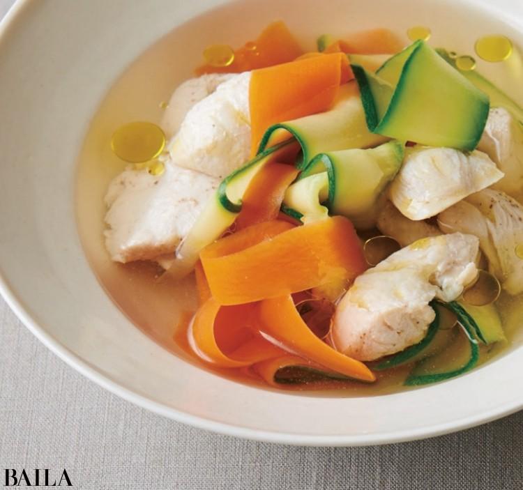 【温野菜レシピ】食感を楽む「ズッキーニとにんじんのリボンスープ」_1