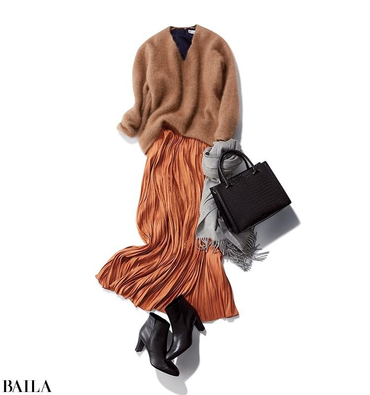 同色ニット&スカートで、今まっぽいゆるっとコーデ