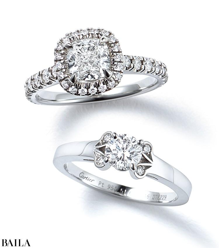 クッションカットのダイヤモンドをマイクロパヴェ