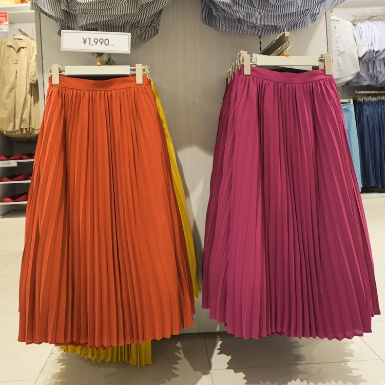 【GU(ジーユー)】渋谷店で30代女子に人気の通勤服(カラフルプリーツスカート)