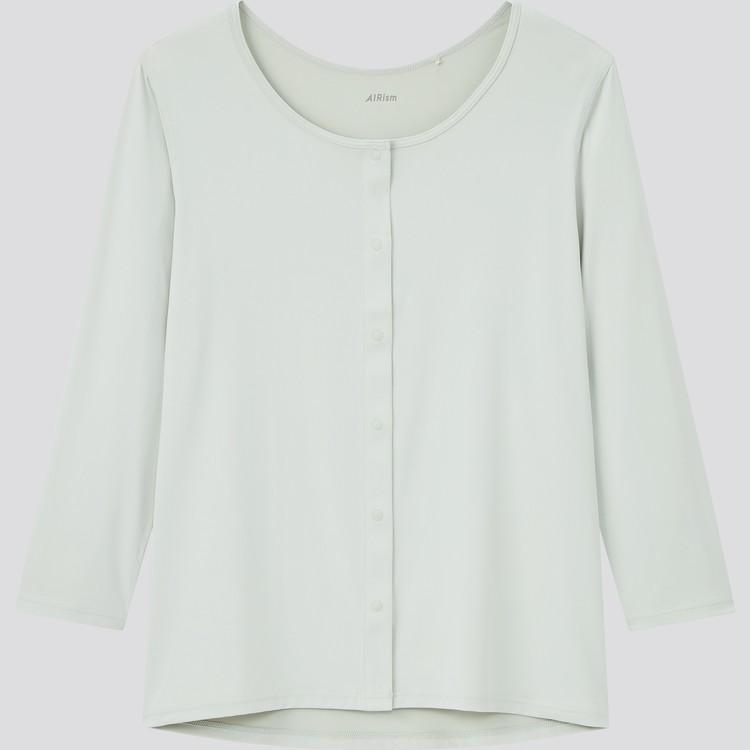 エアリズム 前あきUネックTシャツ(8分袖)¥1990