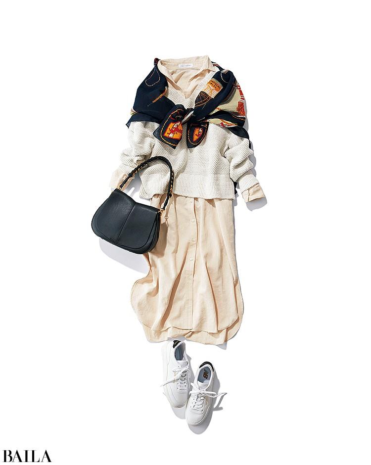 展覧会に行く日は、楽ちんワンピのおしゃれレイヤードスタイル【2020/3/28のコーデ】_1