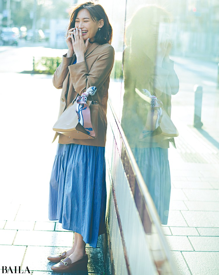 外回りの日は、きれいめワンピ×ジャケットのきれいめ楽ちんコーデ【2020/3/19のコーデ】_1