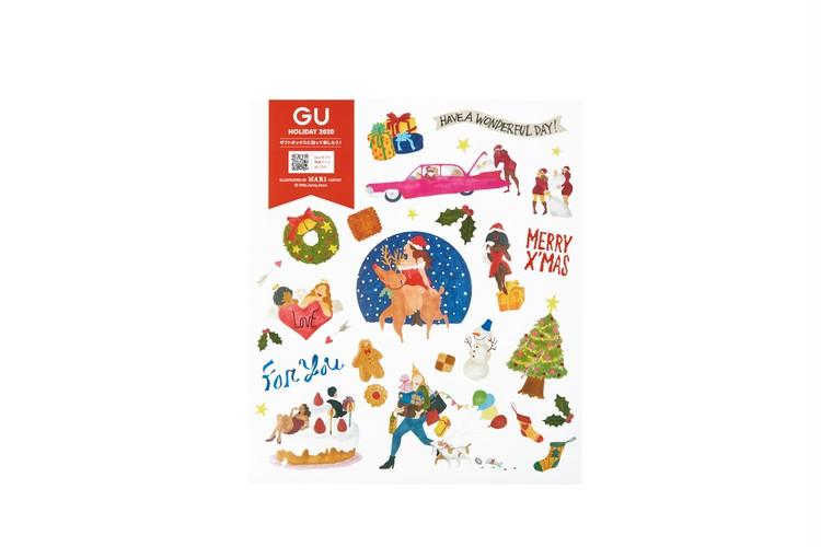 【ジーユー(GU)】クリスマス向けプチプラギフトがそろうホリデイキャンペーン開催中 ギフトボックスについてくるステッカー Nari Yamashina