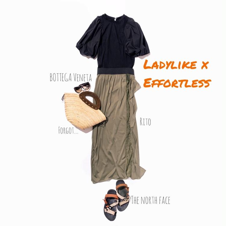 FRAY I.D(フレイアイディー)袖コントップスをやわらかな素材のロングスカートでリラックススタイルに