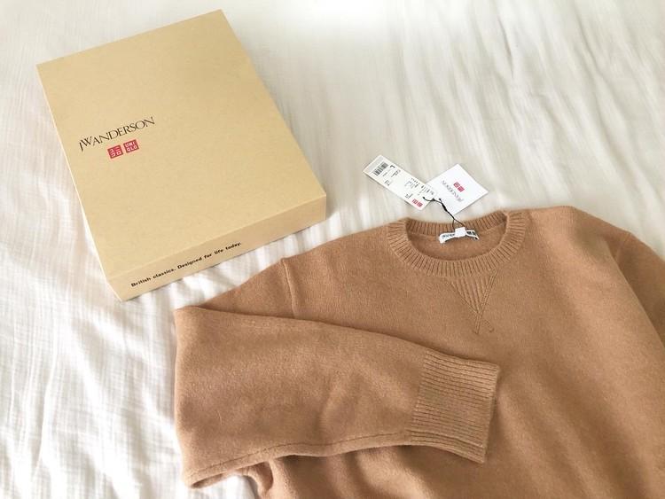 UNIQLOのクルーネックセーターでベージュコーデ_1