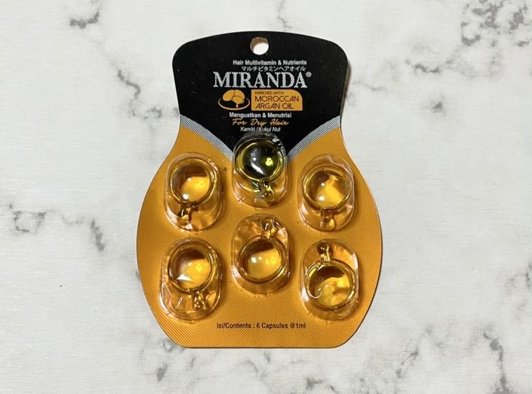 【セリアの時短ヘアケアアイテム3】ミランダマルチビタミンヘアオイルのパッケージ