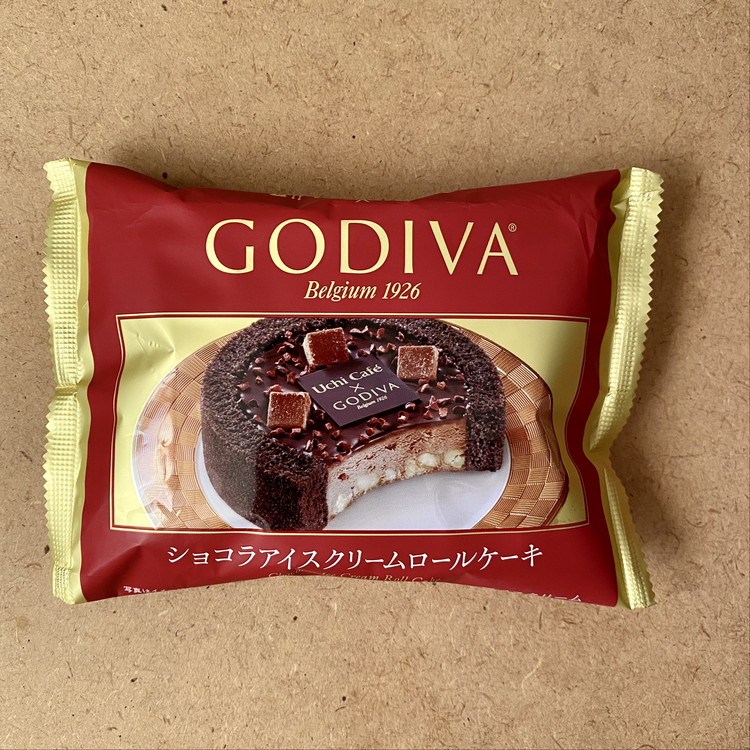 「ゴディバ(GODIVA)× ローソン」2020クリスマスコラボコンビニスイーツ Uchi Café×GODIVA ショコラアイスクリーム ロールケーキ(税込¥380)