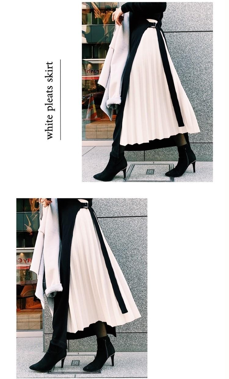 白のニットプリーツスカートが可愛い!身長154cmの冬コーデ_1