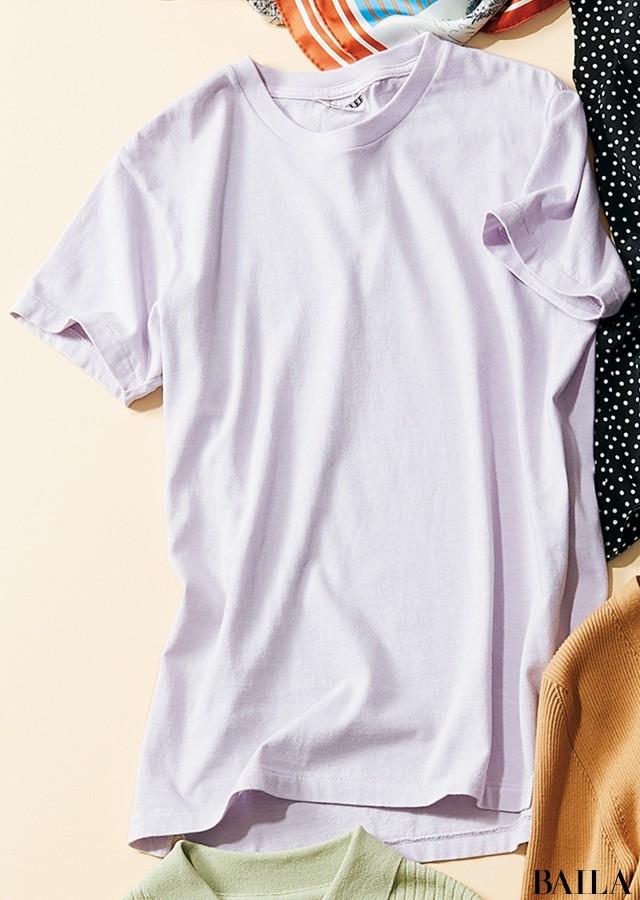女友達とショッピングする日は、ラベンダーTシャツの楽ちんパンツコーデで♡【2019/6/2のコーデ】_2_1