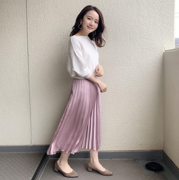 【#プリーツスカート】春を先取り!くすみピンクの大人かわいいコーデ_1