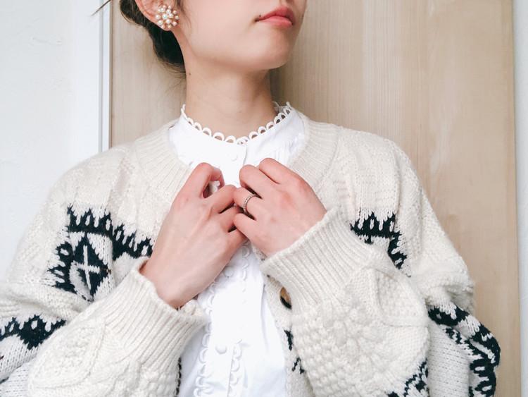 ZARAの白シャツと相性◎なアーガイルカーディガン_1