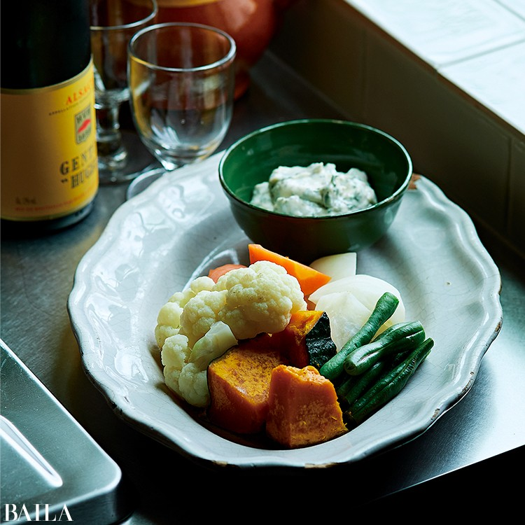 温野菜のアンチョビマヨネーズ