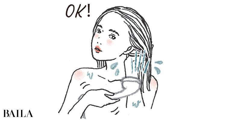 シャワーヘッドを持ちいろんな方向から地肌を洗い流すことが大切