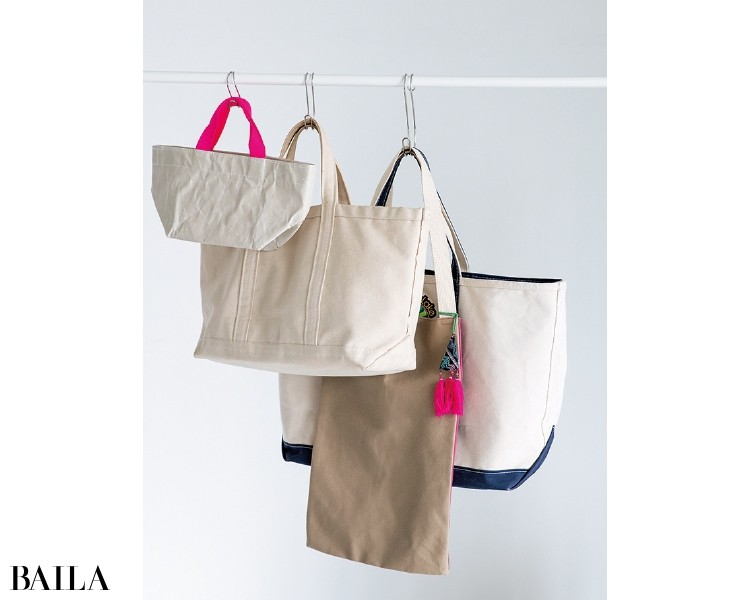 布製のバッグはつるして収納