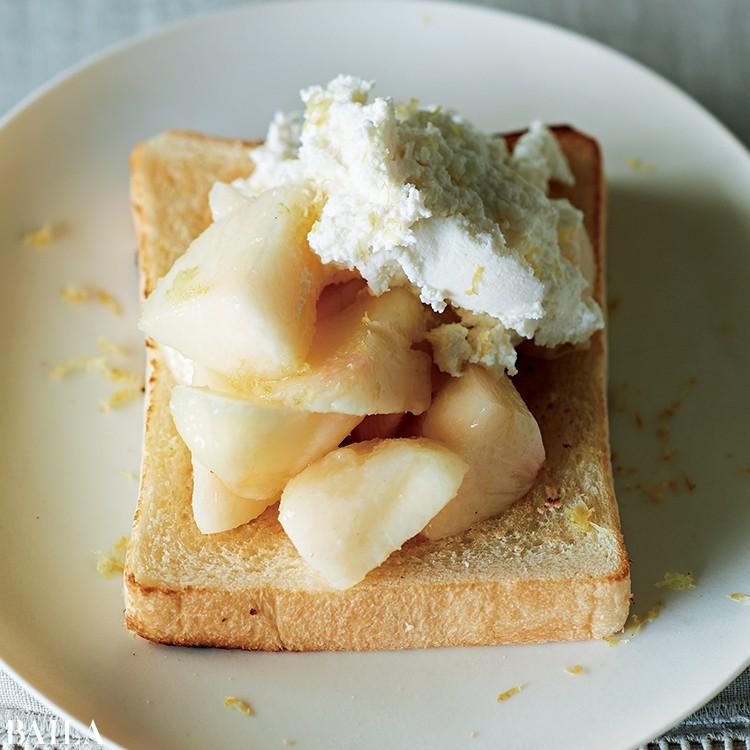 桃とリコッタチーズ
