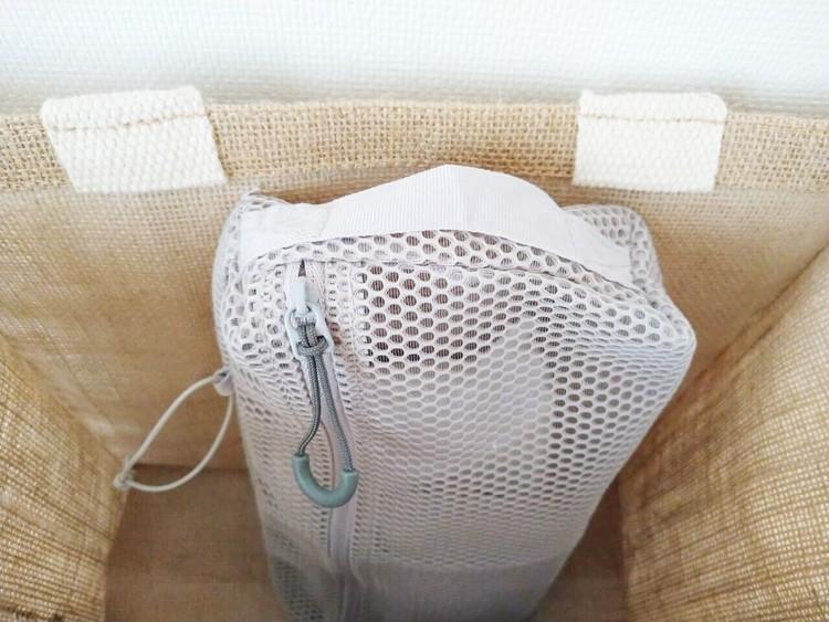 カバンに入れた立体メッシュタテに使える仕分けケース