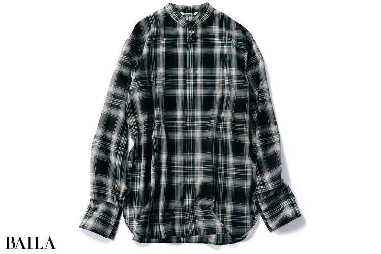 オーラリーのチェック柄シアーシャツ