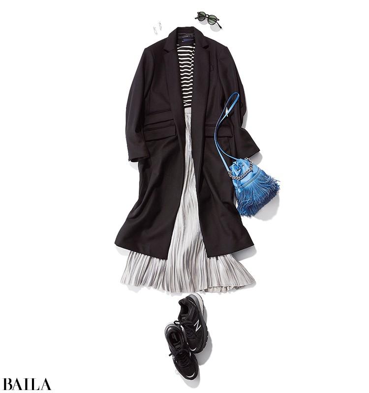 ドライブデートに行く日は、プリーツスカートを使ったカジュアルモノトーンコーデ【2019/12/8のコーデ】_1