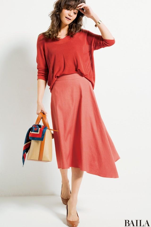 今週も乗り切るために♡ 着やせ&美女感UPの【きれい色スカート】スタイル5_1