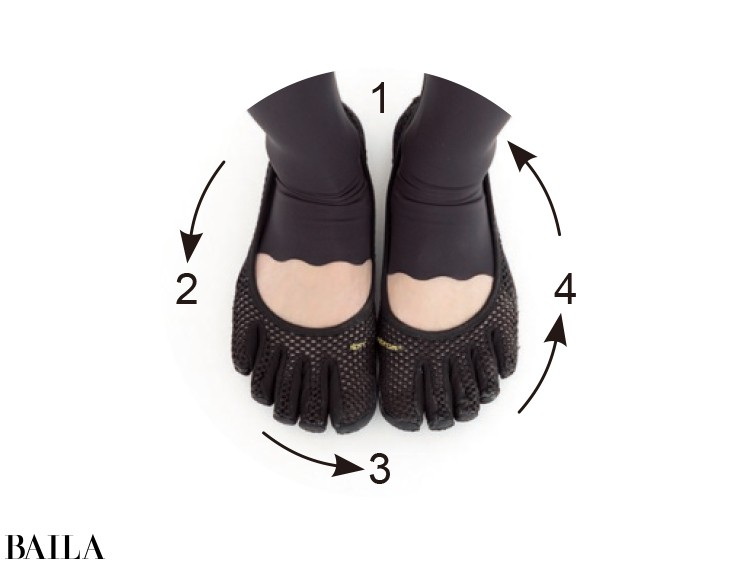 足裏も①から④の順に体重移動を。足の位置はずらさず、浮くのはOK