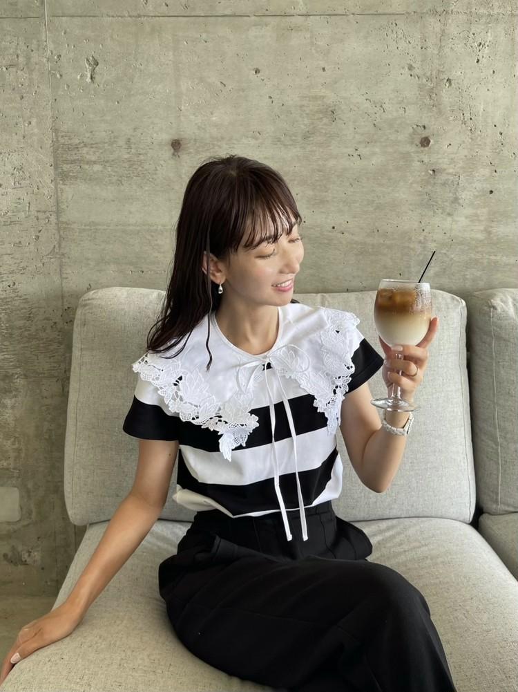 ボーダーTを女っぽく着るアイディア♡_3