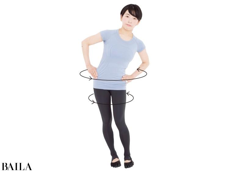 足の第二指を平行にそろえ、足から股関節にかけて大きな円を描くよう重心移動させる