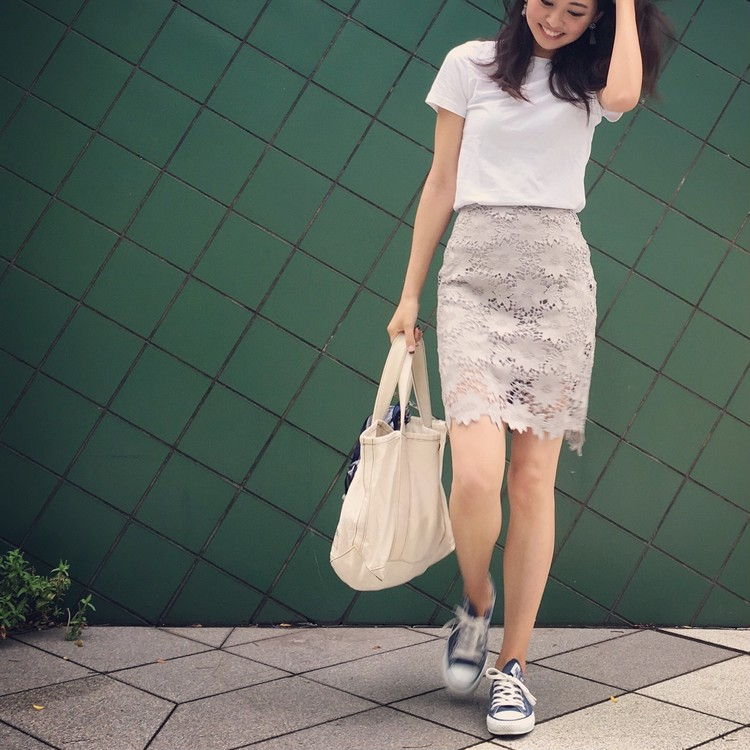 GUのメンズTシャツ×タイトスカートでお仕事コーデ。_1