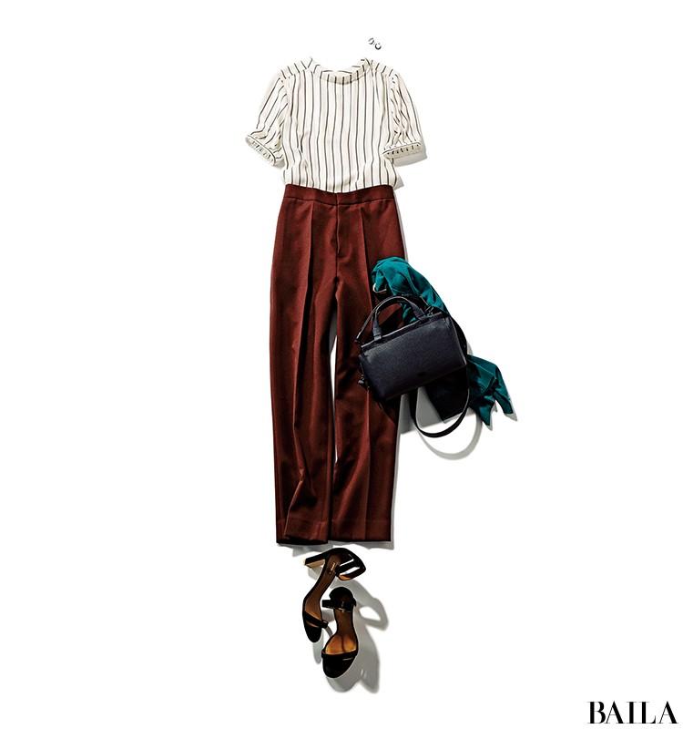 美術館デートの日は、ストライプ×センタープレスパンツの旬な美スタイルコーデで!【2019/8/14のコーデ】_1