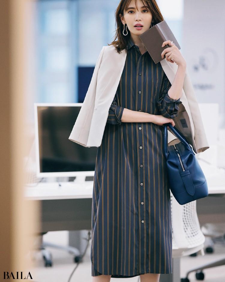 少し辛口なシャツワンピコーデの宮田聡子