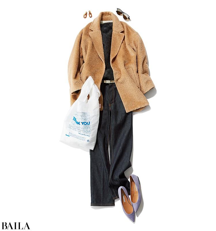 食材の買い出しに行く日は、ふわもこニット&コートのリラックスデニムコーデ【2019/10/26のコーデ】_1