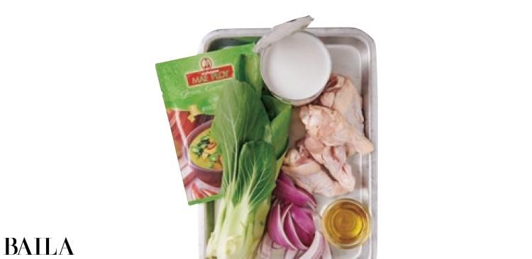 チンゲン菜のグリーンカレー鍋 の材料